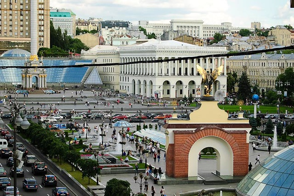 Independence Square, the cultural and trade center of Kyiv, Ukriane.  View from Hotel Kozatskiy.