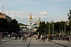 View of St. Sophia's Cathedral from Mykhailivska Square in front of the entrance to St. Michael's, Kyiv, Ukraine.