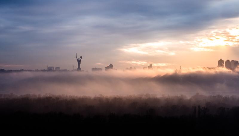 Kyiv skyline in a fog