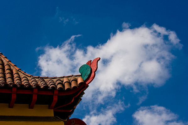 Traditional architecture still exists in Los Angeles' historic Chinatown.