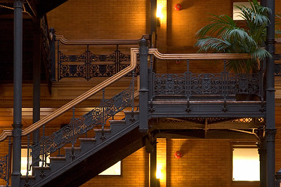 Bradbury Building, built in 1893 at 3rd and Broadway in Los Angeles. Designed by George Wyman.  Wikipedia Entry:     http://en.wikipedia.org/wiki/Bradbury_Building