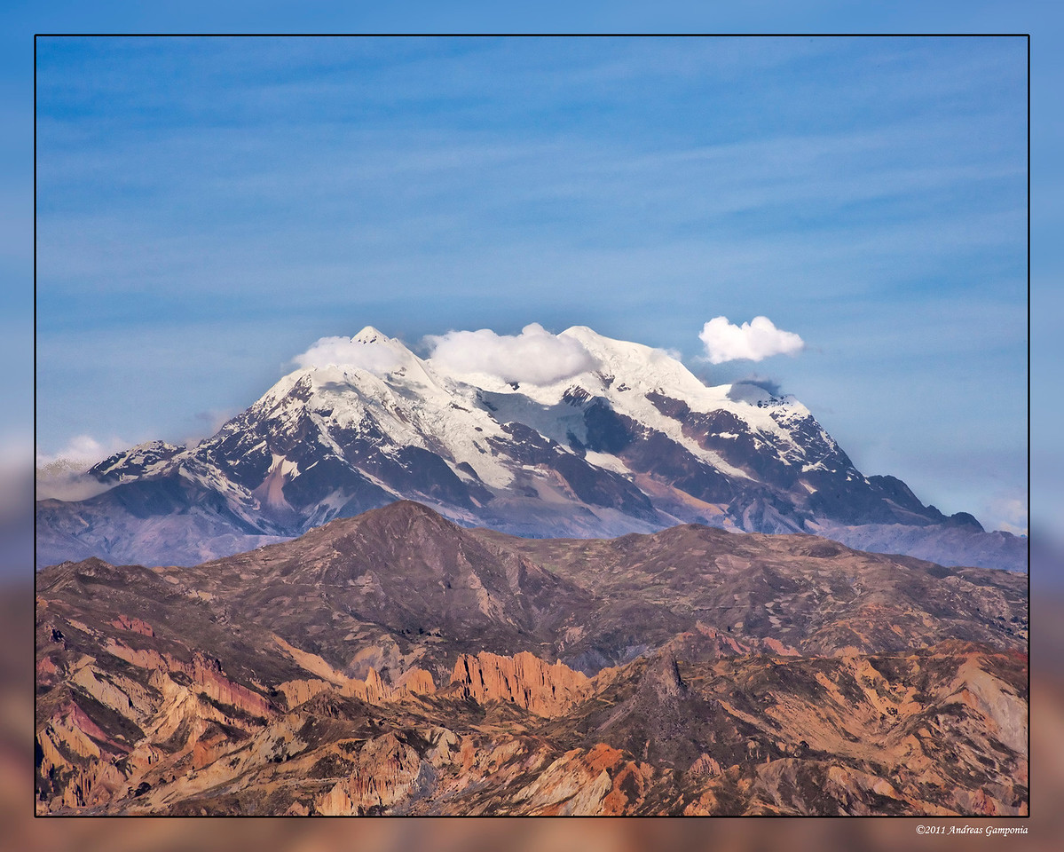 Mount Illimani, 21,194 feet above sea level.  The camera view is from 13,300 feet from above the city of La Paz, Bolivia.