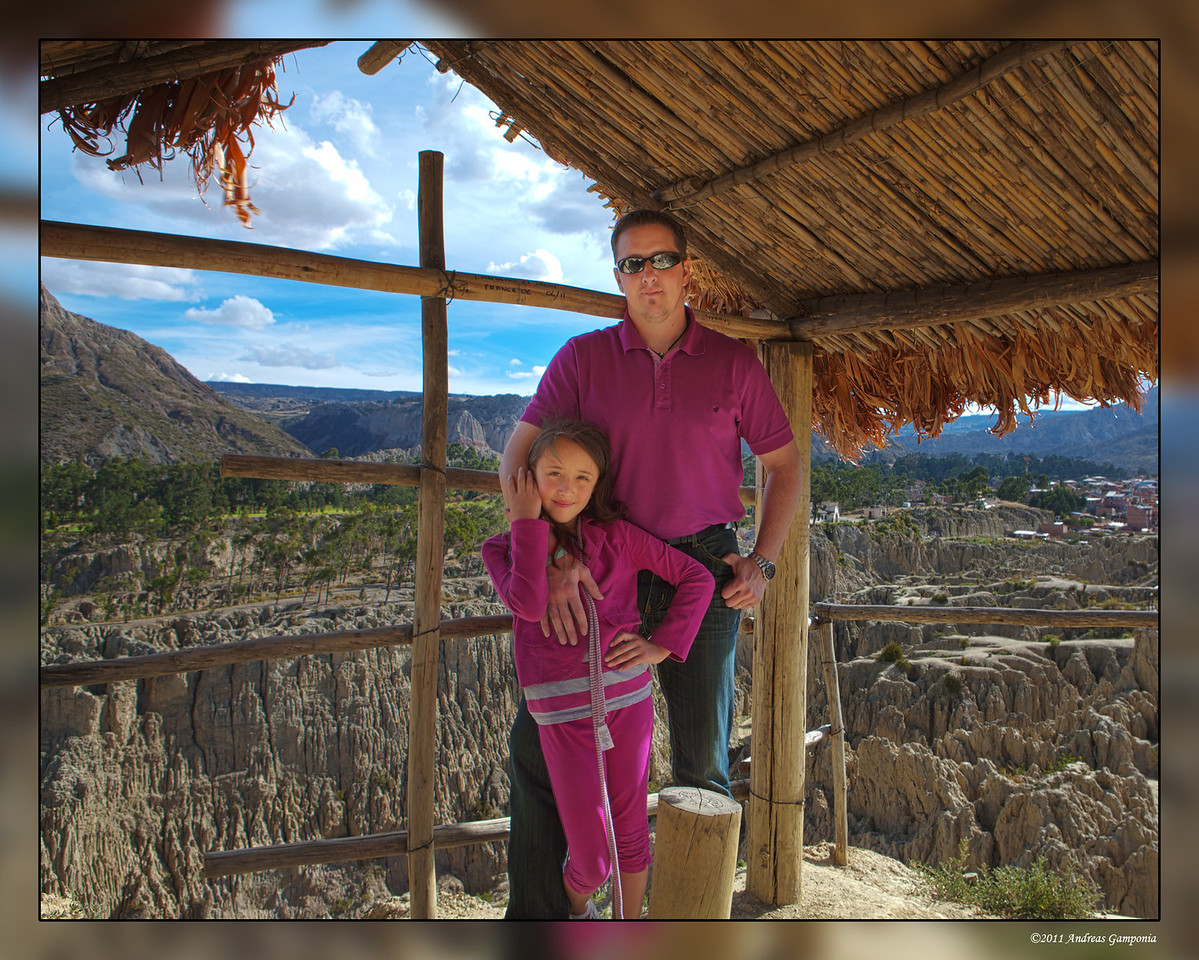 David Presnell and Arianna at a peak overlook in the Valle de la Luna.