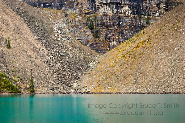 Talus slopes along the side of Moraine Lake, Banff National Park, Alberta