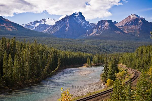 Morant's Curve, CP Rail main line alongside the Bow River, Banff National Park