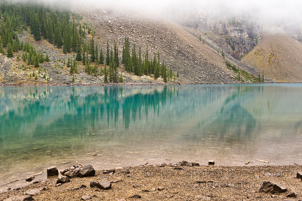 Moraine Lake, Banff National Park, Alberta, on an overcast autumn day