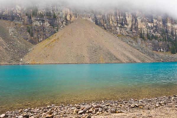 Talus slope alongside Moraine Lake, Banff National Park, Alberta