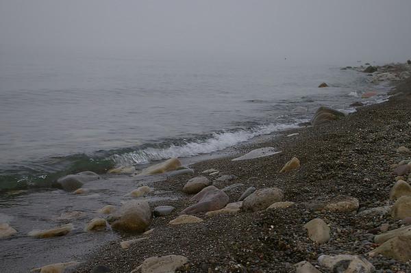 Lake Ontario foggy shoreline.