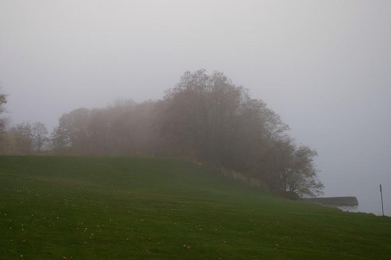 Lake Ontario foggy bluff.