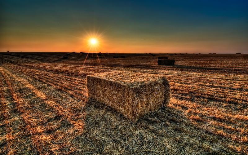 sunrise morning hay bail