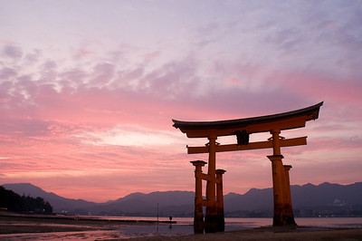 The Itsukushima shrine on Miyajima island close to Hiroshima is watched over by a huge torii.