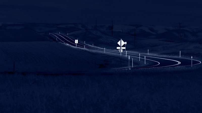 road turn dark night