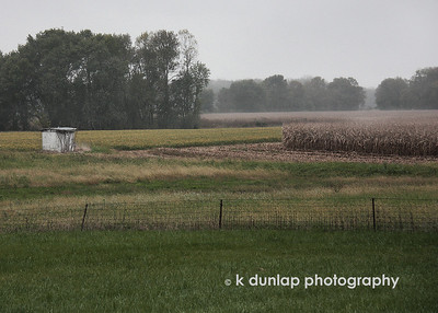 "10.09.09 = From sunny corn fields yesterday to foggy corn fields today.  I came across this foggy corn field the other day and pulled over in the rainy mist to shoot it.  I played around with this one in PS to get a pen and ink type of look. (check out in XL)  It's fun to try out new things every once in a while.  The scene reminded me of a few oil paintings I purchased last weekend at an art show from a young artist with a wise soul, Luke Stretar.  His work just captured me with its depth.  Check out his work at www.lukestretar.artpickle.com   ""Into every life a little rain must fall, some days must be dark and dreary.""  Henry Wadsworth Longfellow."