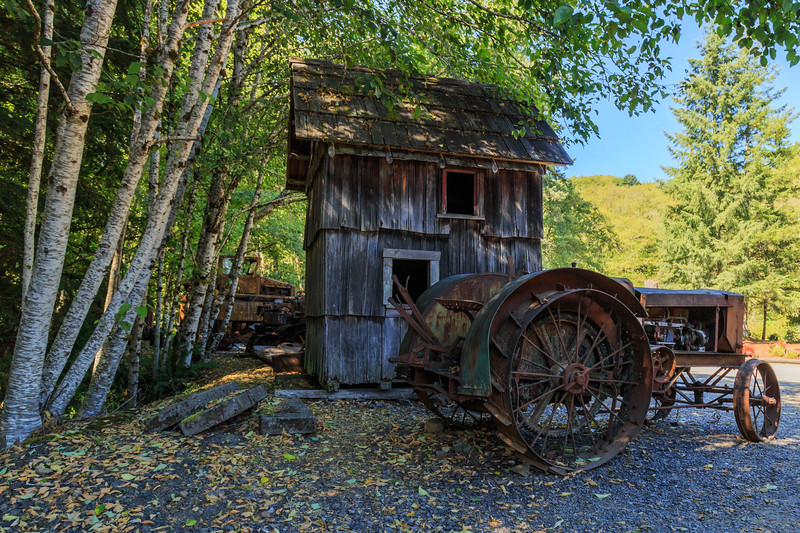 Antique Tractor and old Shed at Camp18, Oregon