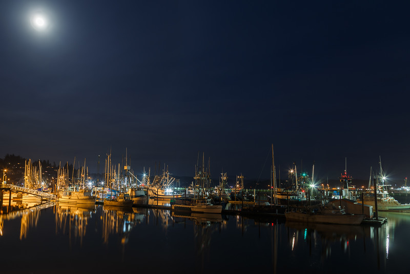 Port of Newport, Oregon at night