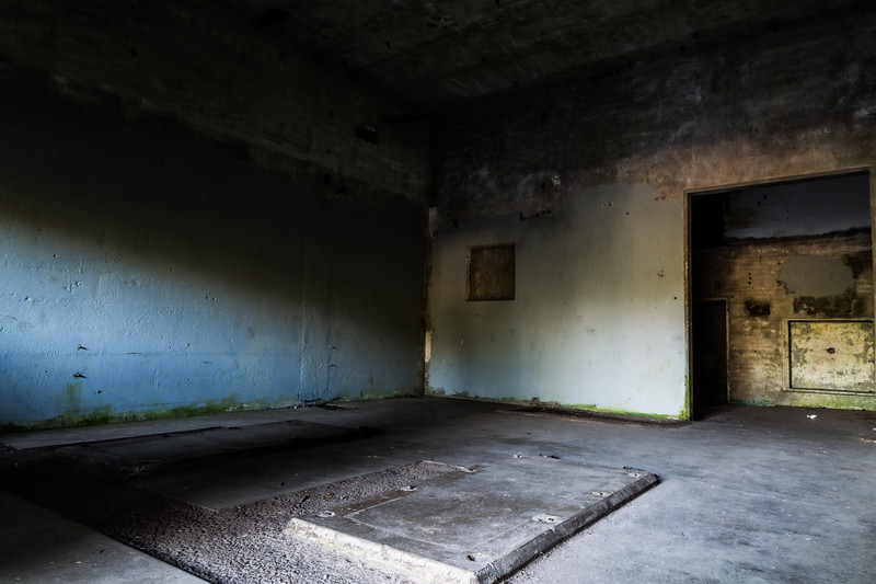 Inside a deserted building at Battery Russell
