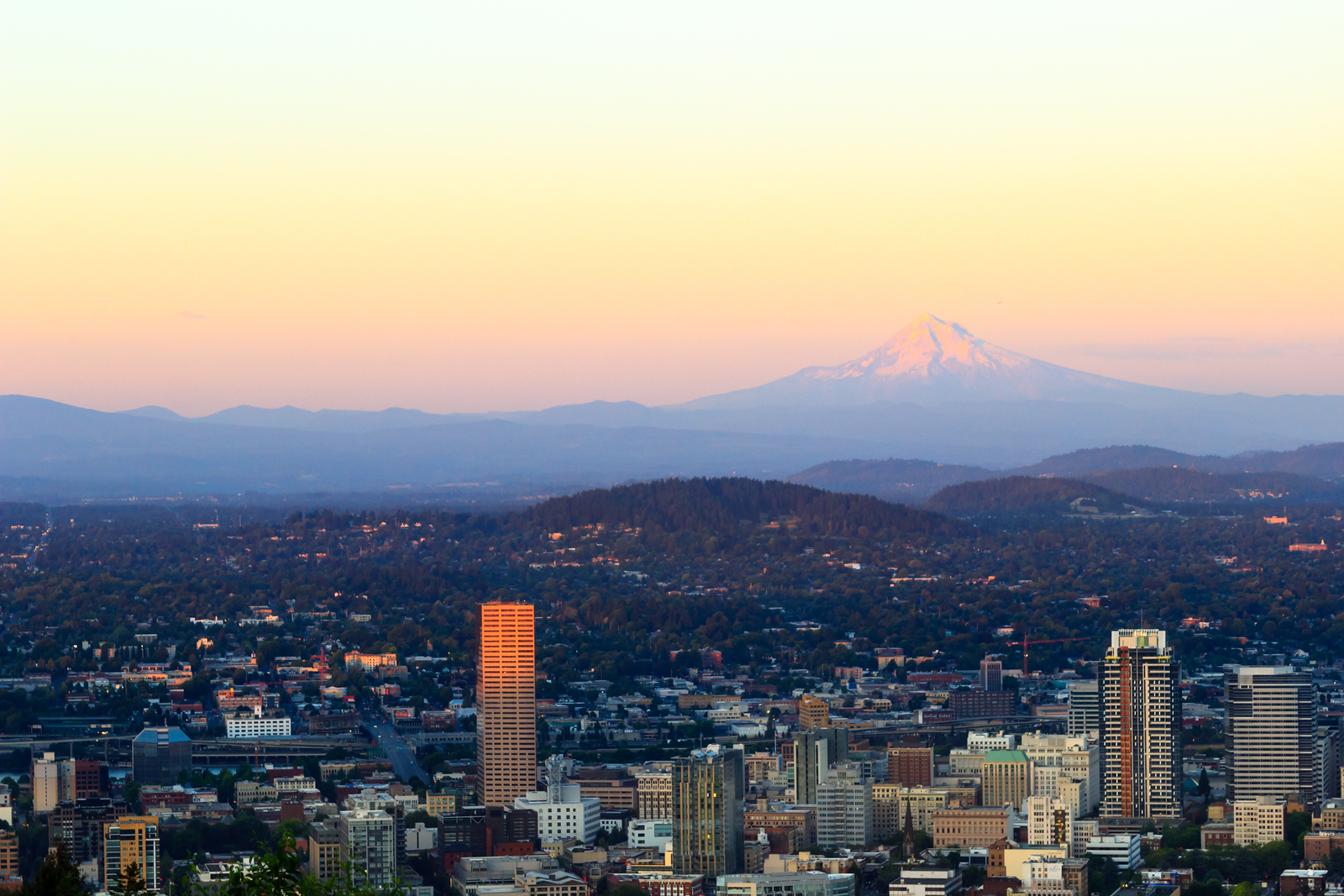 Sunset View of Portland Oregon from Pittock Mansion