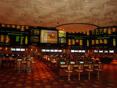 Sports betting area inside the Mirage.