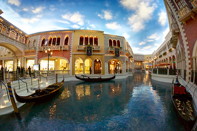 Grand Canal featuring gondolas. The Venetian hotel, Las Vegas