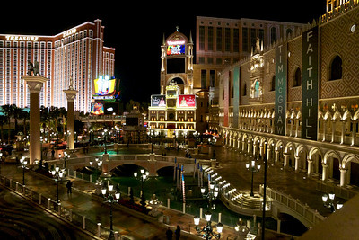Night time outside the The Venetian outdoor canal