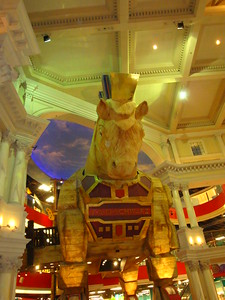 The Trojan Horse standing over the entrance to FAO Schwartz inside the Venetian.