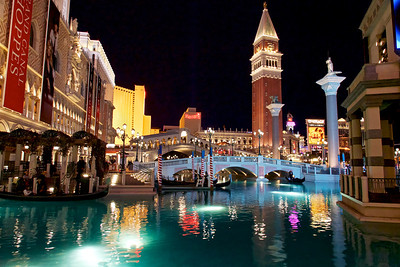 The Venetian outdoor canal comes to life at night