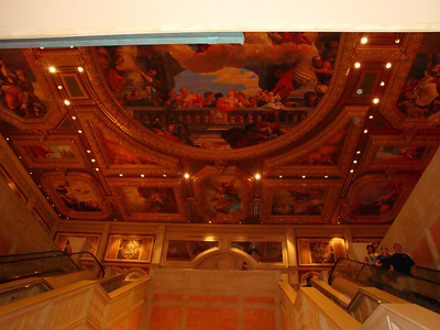Painted ceiling above the main entrance hallway into the Venitian. One of many painted ceilings.