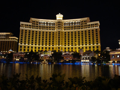 The Bellagio at night just before the fountain show. Outstanding casino and hotel.