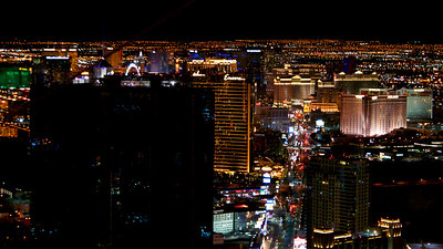 The Las Vegas night scape as seen from the top of the Stratosphere Hotel