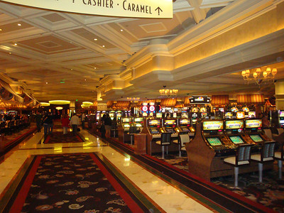 One of the slots gambling areas in the Bellagio.