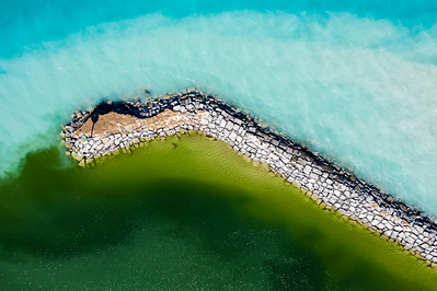 End of Breakwall in Leland Aerial