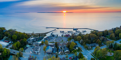 Leland Harbor Sunset from Above