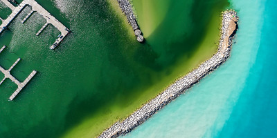 The Colors of Leland Harbor Aerial
