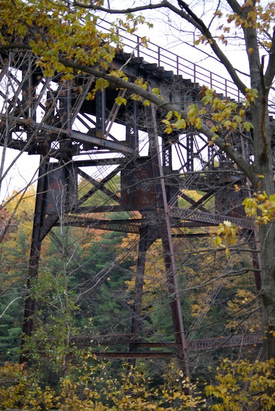 Letchworth State Park, NY, train trellis running above the Upper Falls.