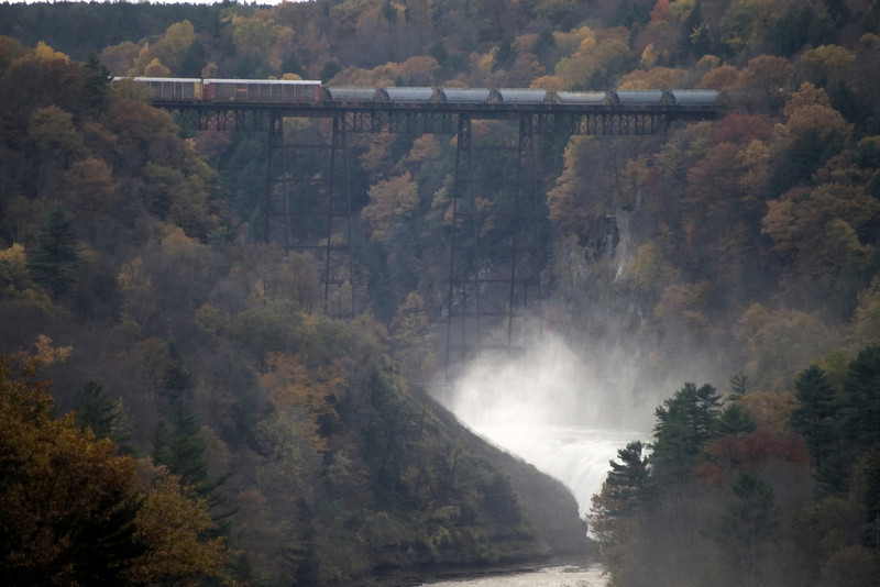 Letchworth State Park, NY, a TRAIN crossing the tracks by the upper falls.. what luck!!!