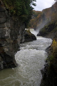 Letchworth State Park, NY, from the foot bridge looking up to the lower falls.