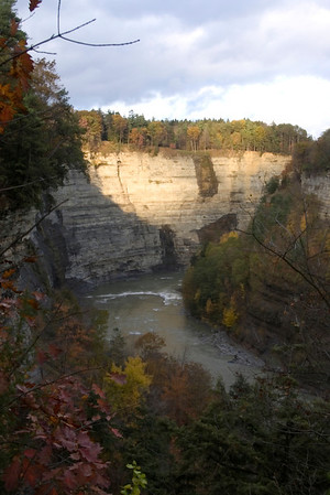 Letchworth State Park, NY, a moment of sun on an otherwise muted day.