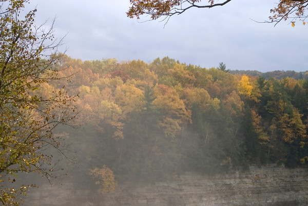 Letchworth State Park, NY, mist rising above the Lower Falls