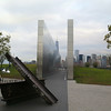 World Trade Center Memorial with sections of beams from the towers.