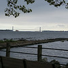 Verrazano Narrows bridge, connects the lower end of Long Island with Staten Island
