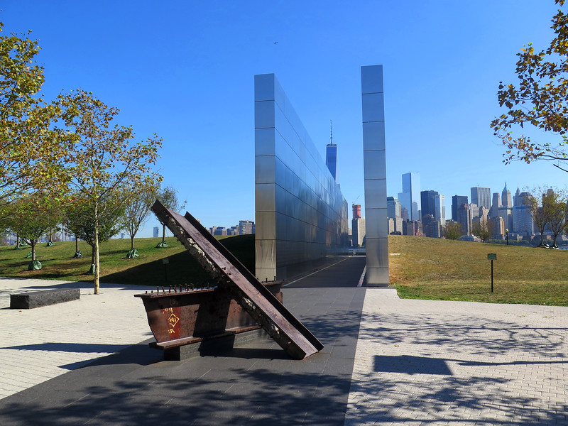 World Trade Center Memorial, with sections of beams from the building in front.