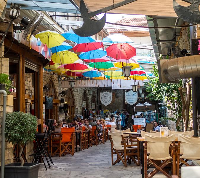 Cafe under umbrellas in Limassol