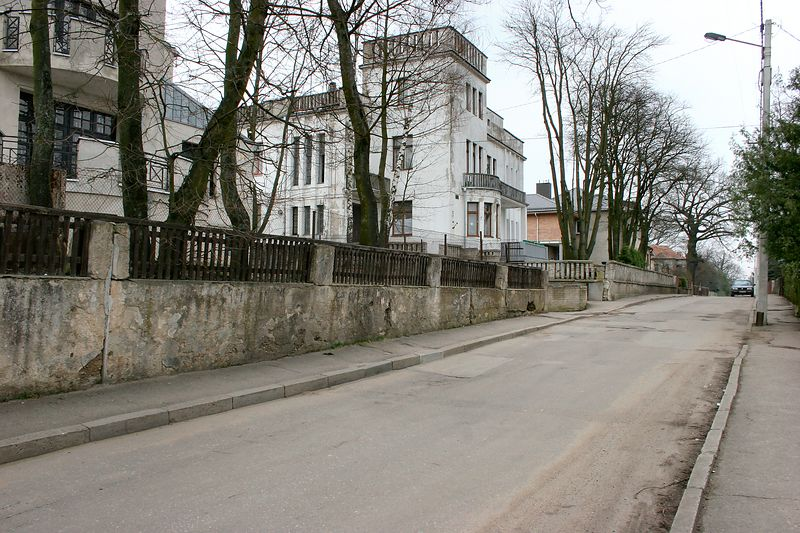 This is walking up Vaizganto Street.  The white house on the left belonged to my Grandfather's brother, Petras Klimas who was one of the signers of the Lithuanian Declaration of Independence in February 1918.  He was also the Lithuanian Ambassador to Italy and France and was acting Foreign Minister for a short time.  When the Soviet's occupied Lithuania, he was tried for the very serious crime of asking France not to recognize the Soviet annexation of Lithuania and was sentenced to 10 years of hard labor in Siberia.  Upon his return to Kaunus in 1955, he was unable to return to his home and instead, lived across the street with the family of his wife's sister, Barbora Lesauskiene.  He passed away in 1969 and is buried in Kaunus.  Barbora's Granddaughters, Vaiva and Vita Lesauskaite, live there now with their mother, Valerija.  They were kind enough to open their home to me on this trip and thanks to them, I had a very special tour of my Father's hometown.