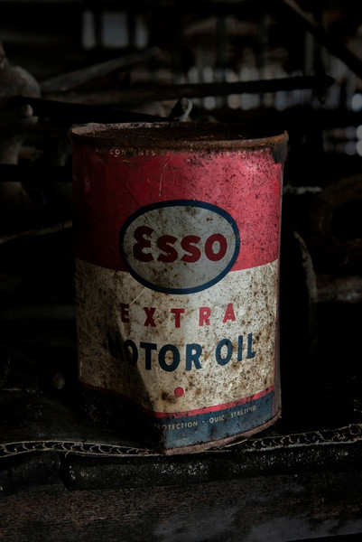 An oil can down in the basement.
