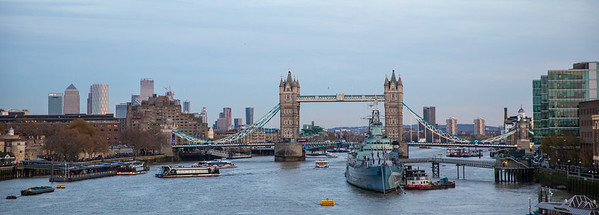 View of Tower Bridge and skyline from London Bridge.