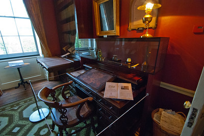 """Charles wrote at this desk, and was disciplined in his art, preferring to write in the mornings each day. In """"David Copperfield"""", Charles Dickens reveals that discipline is like a weapon: those who misuse it are cruel, unjust, and a danger to everyone around them, while those who fail to use it at all endanger themselves and lower their defenses."""
