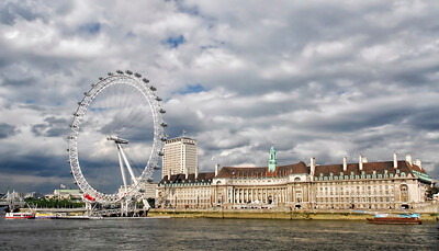 The London Eye and County Hall along the River Thames