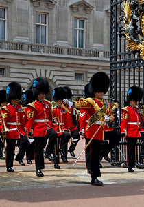 Royal Marching Band exiting the gates of Buckingham Palace -  Changing of the Guards - London, England