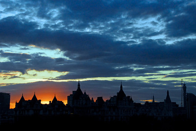 Silhouette of London Skyline at sunset along River Thames -  London, England