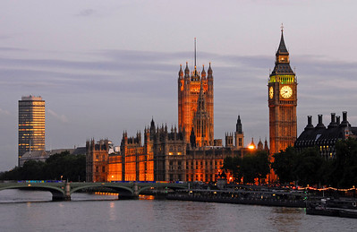 Big Ben, Houses of Parliment and Westminster Bridge over the River Thames - London, England